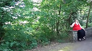 Fat mature flasher Sammis public nudity and outdoor masturbation of bbw housewife showing pussy and big tits to voyeurs
