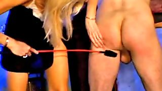 Blonde housewife spanking boyfriend