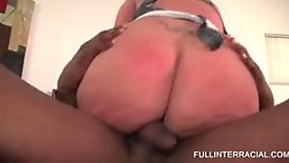 Stockinged housewife taking monster black dick