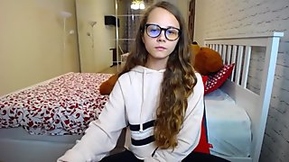 Cute blonde babe gets horny talking video