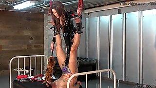Japanese Dominatrix Kira Hanging Slave and CBT