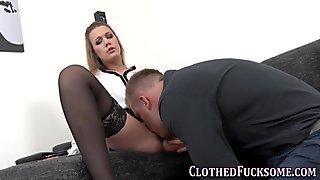 very alluring and glam slut sucking him off