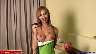 Redhead Thai ladyboy is giving blowjob and strokes her cock