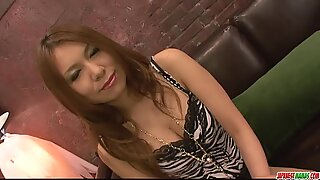 Stunning brunette giving blow job and screwed
