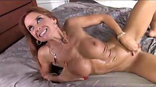 Hot mature body Janet Mason swallows big black dicks cum