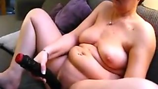 mature chubby wife masturbates with huge dildo