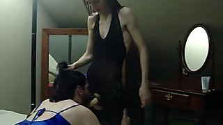I make my sissy husband suck my strapon